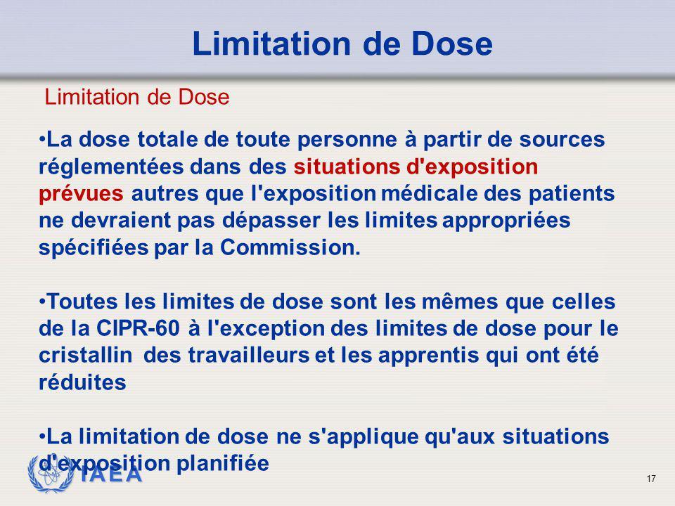 IAEA 17 Limitation de Dose La dose totale de toute personne à partir de sources réglementées dans des situations d'exposition prévues autres que l'exp