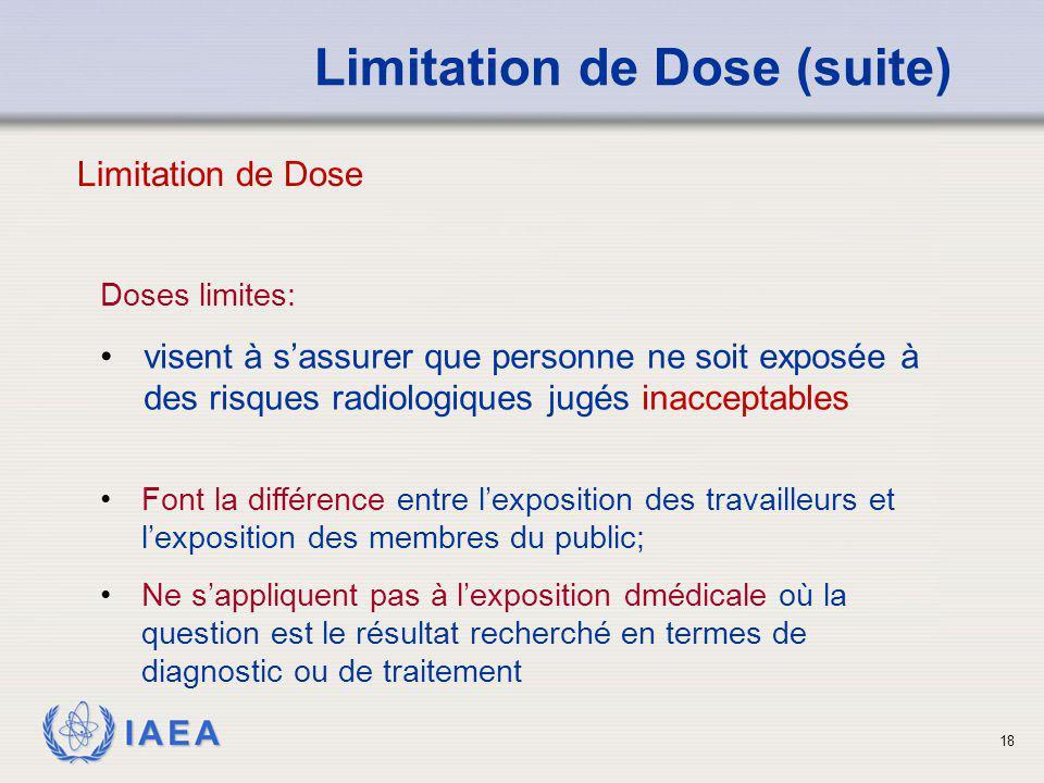 IAEA 18 Doses limites: visent à s'assurer que personne ne soit exposée à des risques radiologiques jugés inacceptables Limitation de Dose (suite) Font