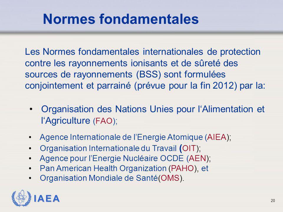 IAEA 20 Organisation des Nations Unies pour l'Alimentation et l'Agriculture (FAO); Normes fondamentales Les Normes fondamentales internationales de pr