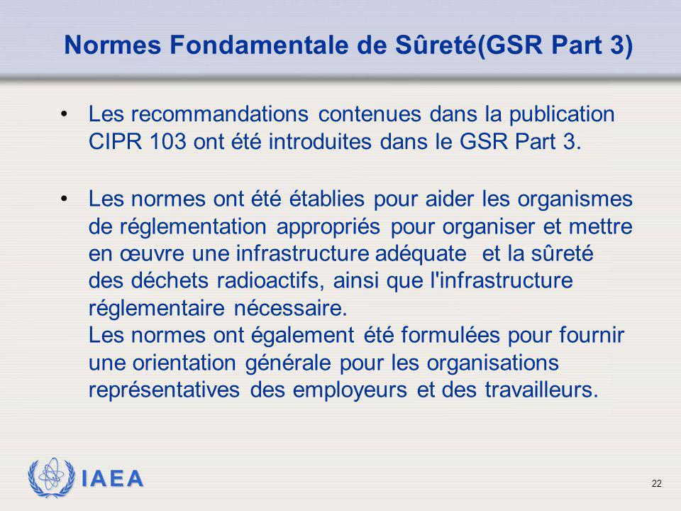 IAEA 22 Les recommandations contenues dans la publication CIPR 103 ont été introduites dans le GSR Part 3. Normes Fondamentale de Sûreté(GSR Part 3) L