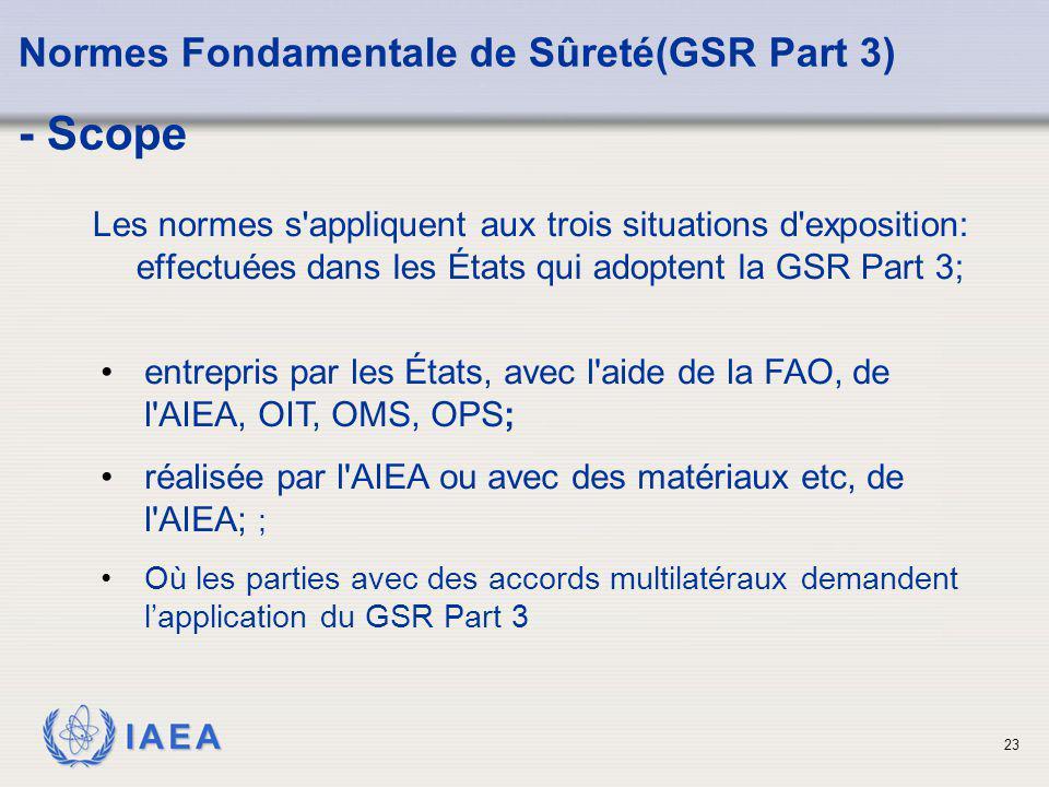 IAEA 23 Les normes s'appliquent aux trois situations d'exposition: effectuées dans les États qui adoptent la GSR Part 3; Normes Fondamentale de Sûreté