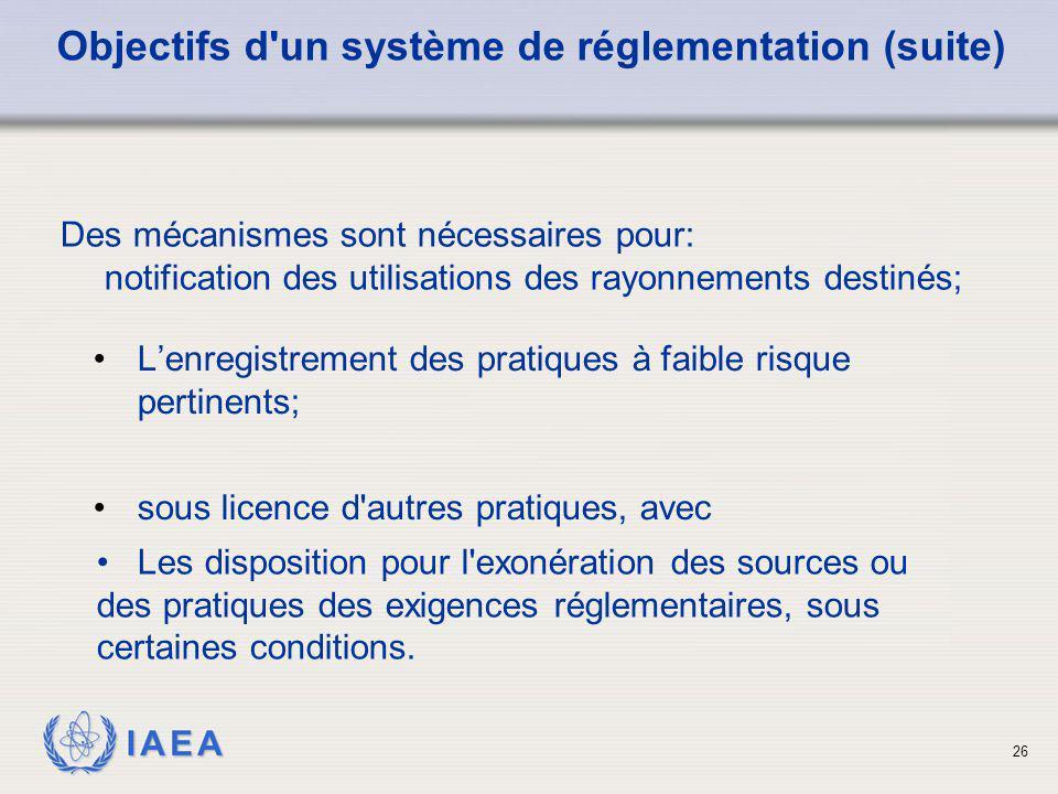 IAEA 26 L'enregistrement des pratiques à faible risque pertinents; sous licence d'autres pratiques, avec Objectifs d'un système de réglementation (sui
