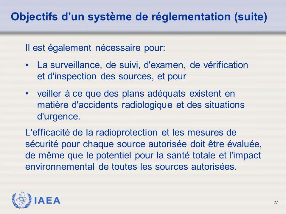 IAEA 27 L'efficacité de la radioprotection et les mesures de sécurité pour chaque source autorisée doit être évaluée, de même que le potentiel pour la