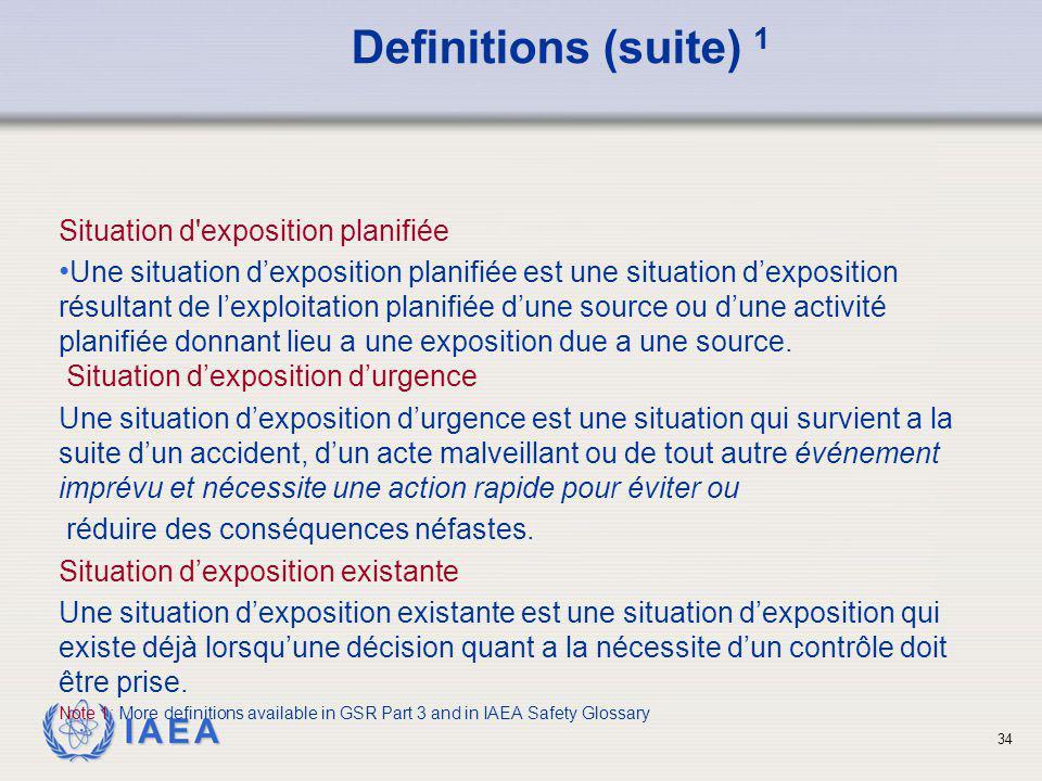IAEA 34 Situation d'exposition planifiée Une situation d'exposition planifiée est une situation d'exposition résultant de l'exploitation planifiée d'u