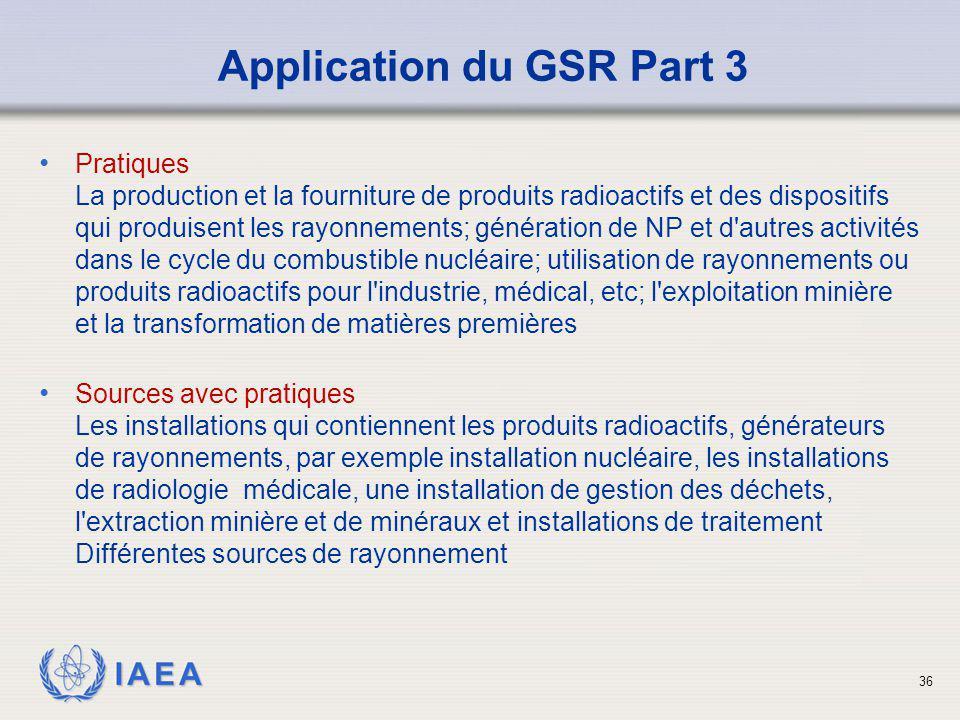 IAEA 36 Pratiques La production et la fourniture de produits radioactifs et des dispositifs qui produisent les rayonnements; génération de NP et d'aut