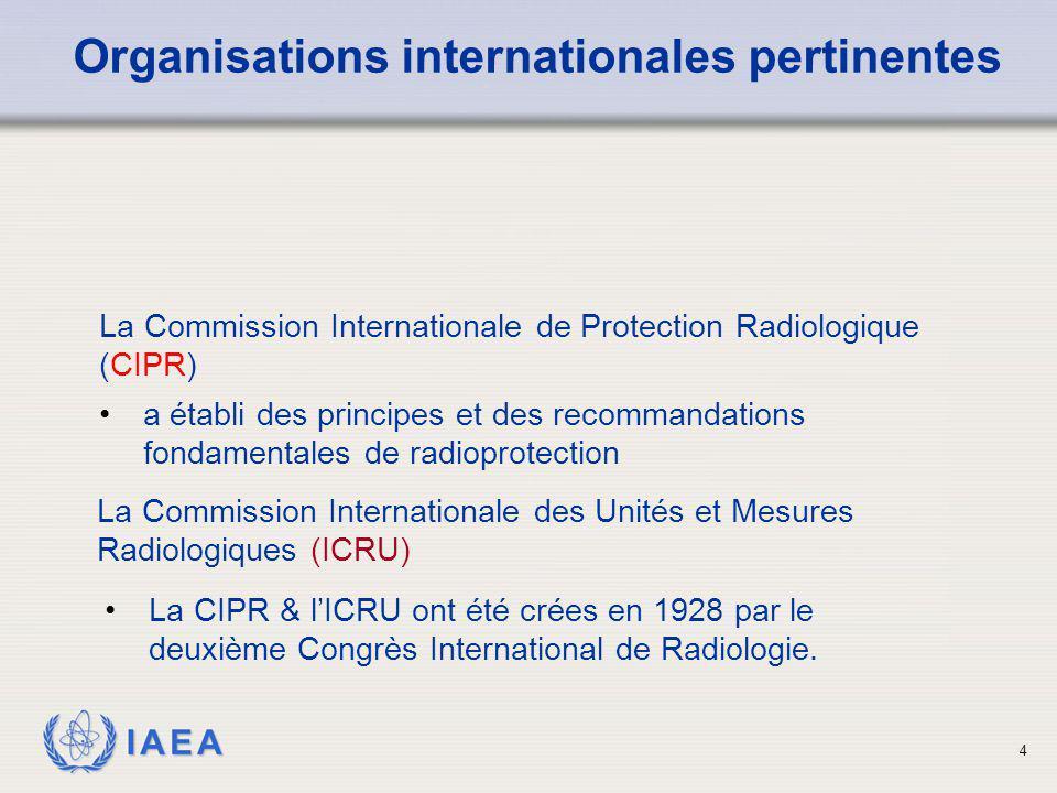 IAEA 4 La CIPR & l'ICRU ont été crées en 1928 par le deuxième Congrès International de Radiologie. Organisations internationales pertinentes La Commis