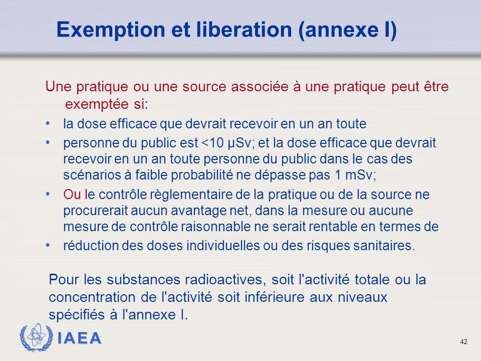 IAEA 42 Une pratique ou une source associée à une pratique peut être exemptée si: la dose efficace que devrait recevoir en un an toute personne du pub