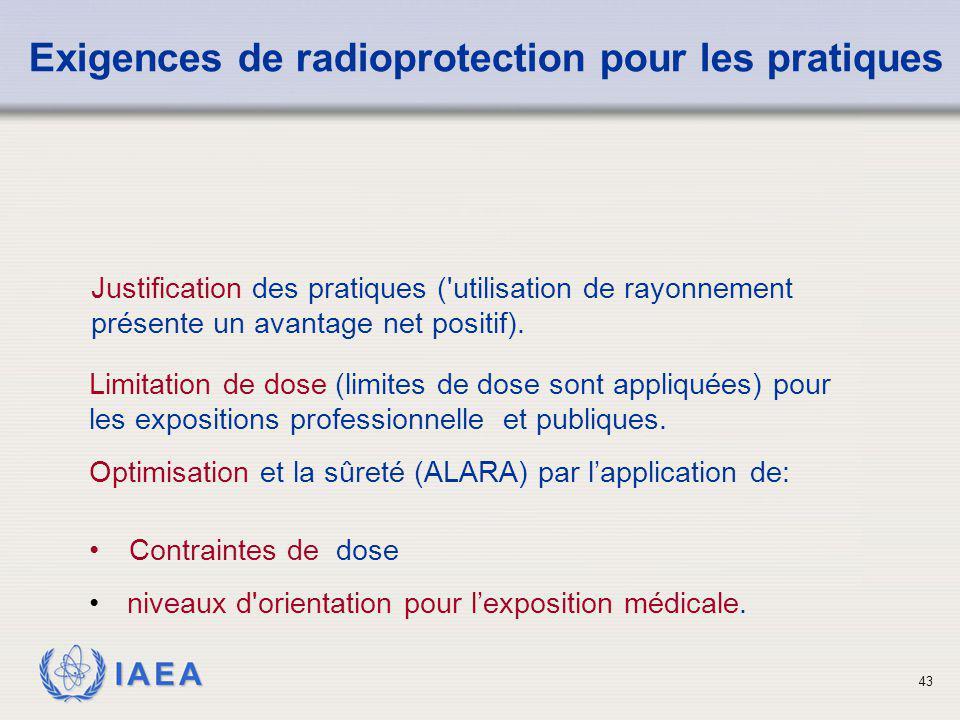 IAEA 43 Justification des pratiques ('utilisation de rayonnement présente un avantage net positif). Exigences de radioprotection pour les pratiques Co