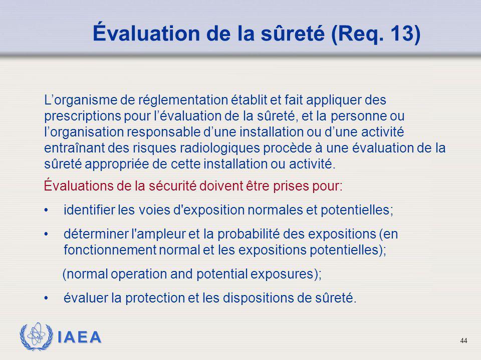IAEA 44 Évaluation de la sûreté (Req. 13) Évaluations de la sécurité doivent être prises pour: identifier les voies d'exposition normales et potentiel