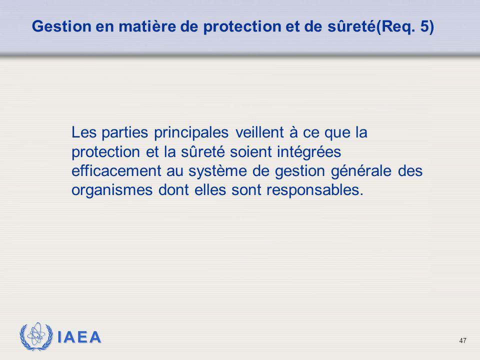IAEA 47 Gestion en matière de protection et de sûreté(Req. 5) Les parties principales veillent à ce que la protection et la sûreté soient intégrées ef