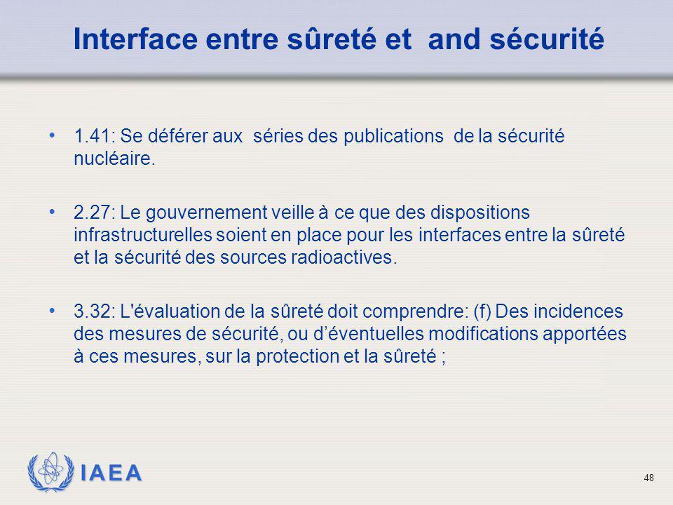 IAEA 48 1.41: Se déférer aux séries des publications de la sécurité nucléaire. 2.27: Le gouvernement veille à ce que des dispositions infrastructurell
