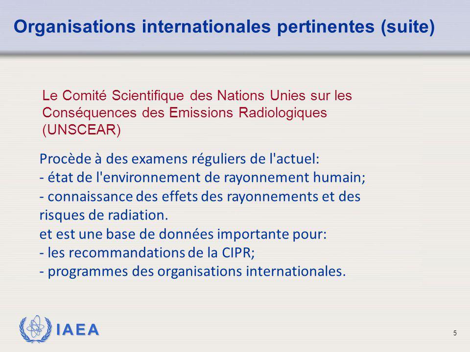 IAEA 6 Les fonctions de l'Agence Internationale de l'Energie Atomique (IAEA) comprennent: Organisations internationales pertinentes (suite) vérifie les utilisations pacifiques de l énergie atomique; promotion de la sûreté; permet le transfert de technologie; établi des normes de sécurité et en vue d assurer leur application; Facilite la mise en place de conventions.
