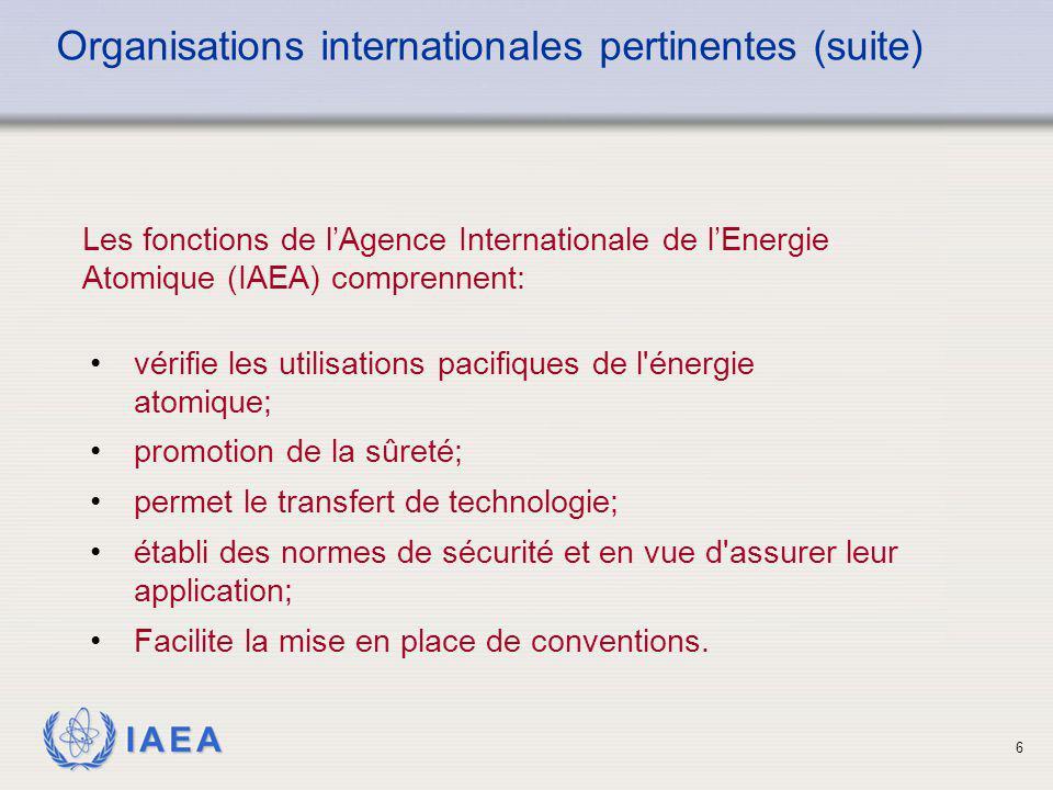 IAEA 6 Les fonctions de l'Agence Internationale de l'Energie Atomique (IAEA) comprennent: Organisations internationales pertinentes (suite) vérifie le