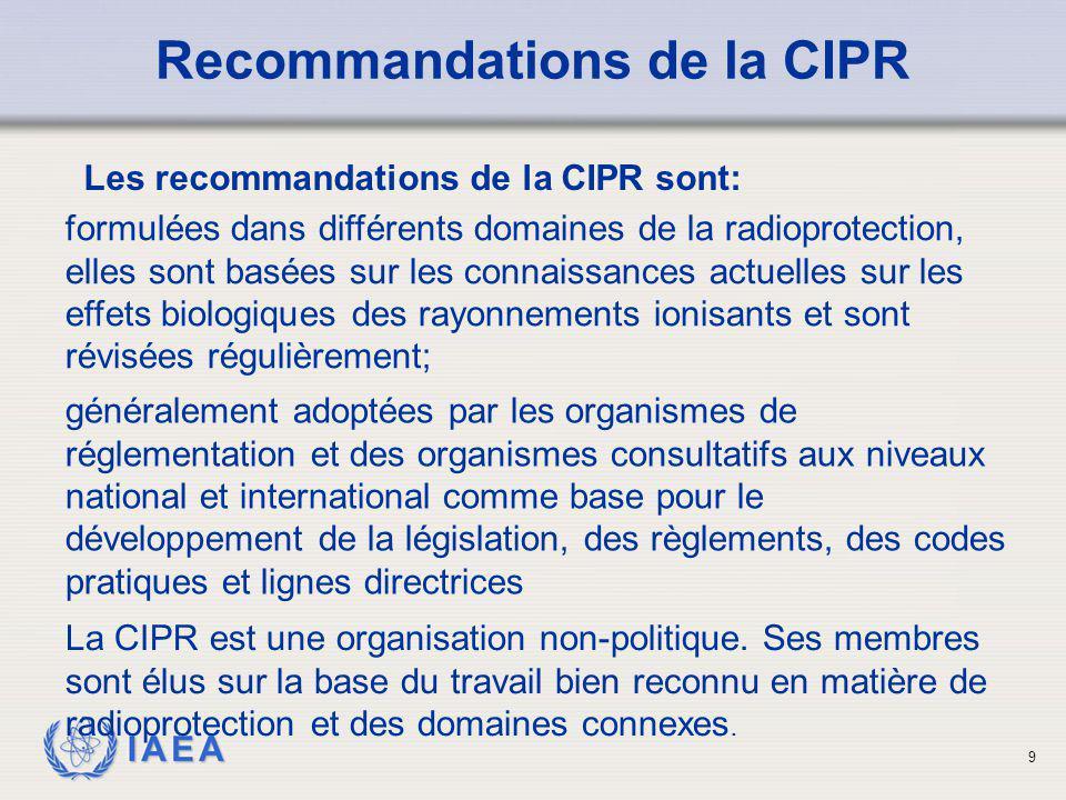 IAEA 20 Organisation des Nations Unies pour l'Alimentation et l'Agriculture (FAO); Normes fondamentales Les Normes fondamentales internationales de protection contre les rayonnements ionisants et de sûreté des sources de rayonnements (BSS) sont formulées conjointement et parrainé (prévue pour la fin 2012) par la: Agence Internationale de l'Energie Atomique (AIEA); Organisation Internationale du Travail ( OIT); Agence pour l'Energie Nucléaire OCDE (AEN); Pan American Health Organization (PAHO), et Organisation Mondiale de Santé(OMS).