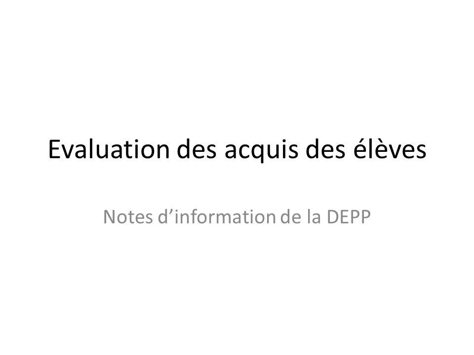 Evaluation des acquis des élèves Notes d'information de la DEPP