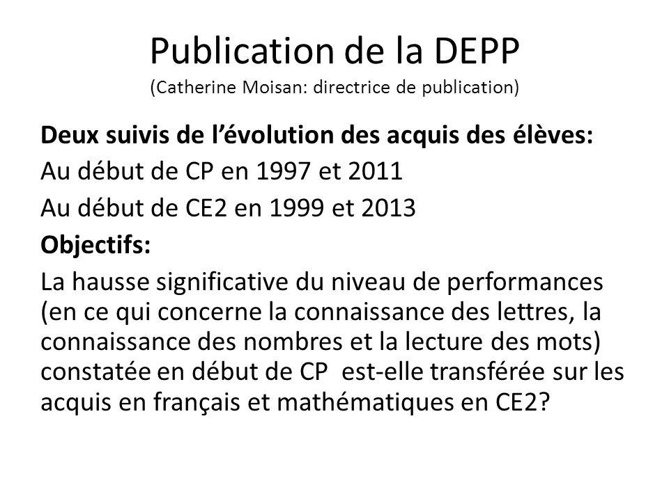 Deux constats Forte augmentation des niveaux des acquis des élèves à l'entrée au CP (note de la DEPP du 13- 19/09 /2013); Les acquis en début de CE2 ( note de la DEPP de 05/ 2014): les progrès observés à l'entrée au CP ne sont pas confirmés.