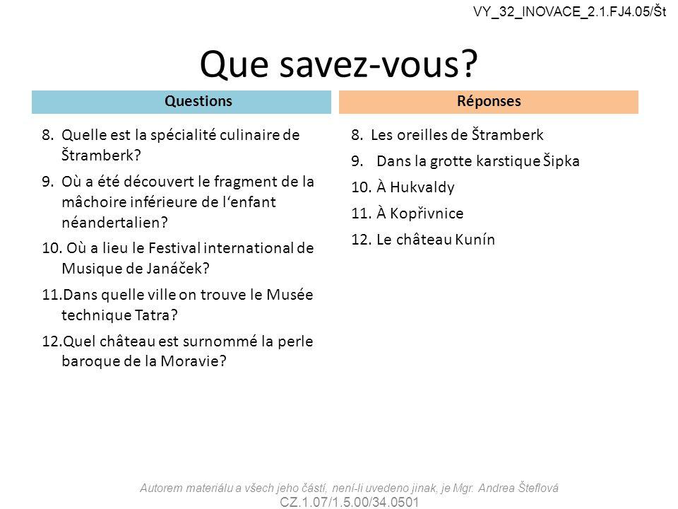 Que savez-vous. Questions 8.Quelle est la spécialité culinaire de Štramberk.