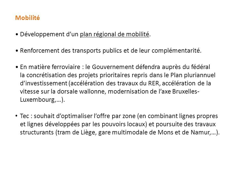 Mobilité Développement d'un plan régional de mobilité.