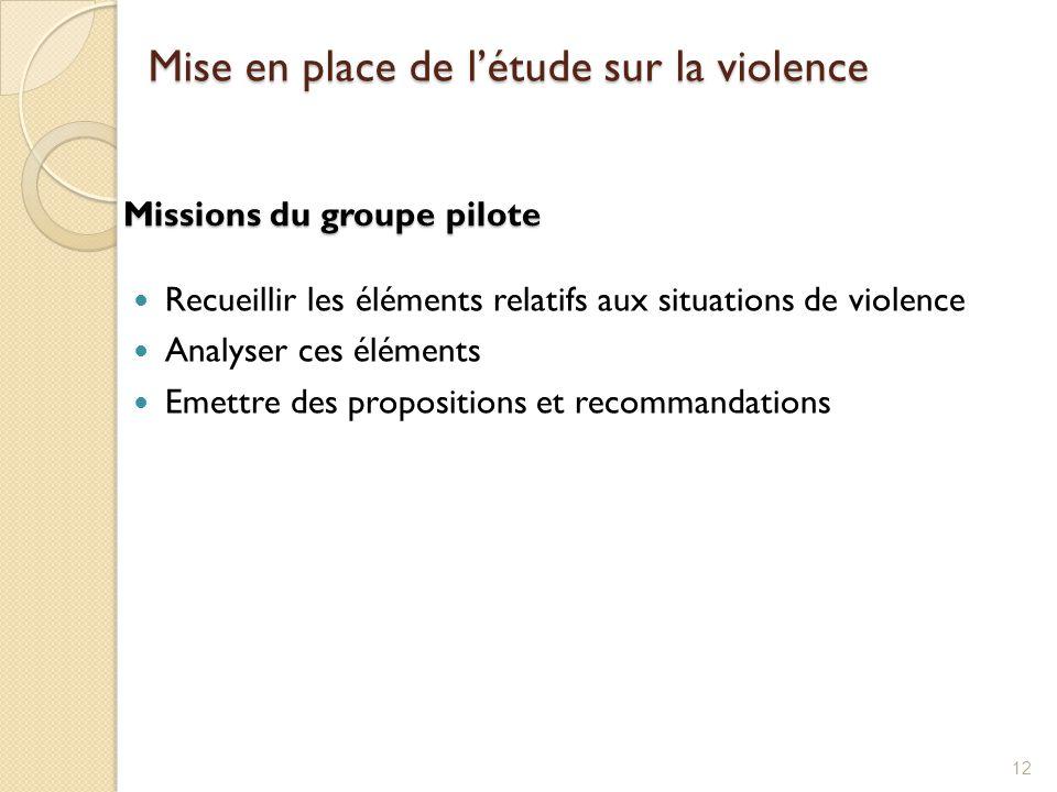 Missions du groupe pilote Recueillir les éléments relatifs aux situations de violence Analyser ces éléments Emettre des propositions et recommandation