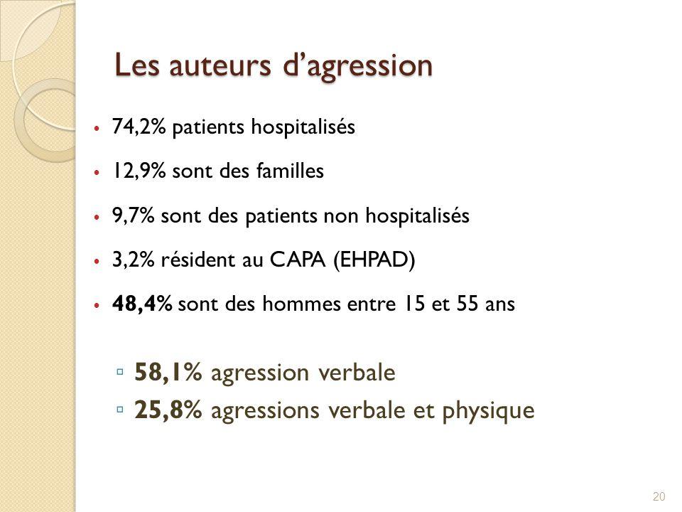 Les auteurs d'agression 74,2% patients hospitalisés 12,9% sont des familles 9,7% sont des patients non hospitalisés 3,2% résident au CAPA (EHPAD) 48,4