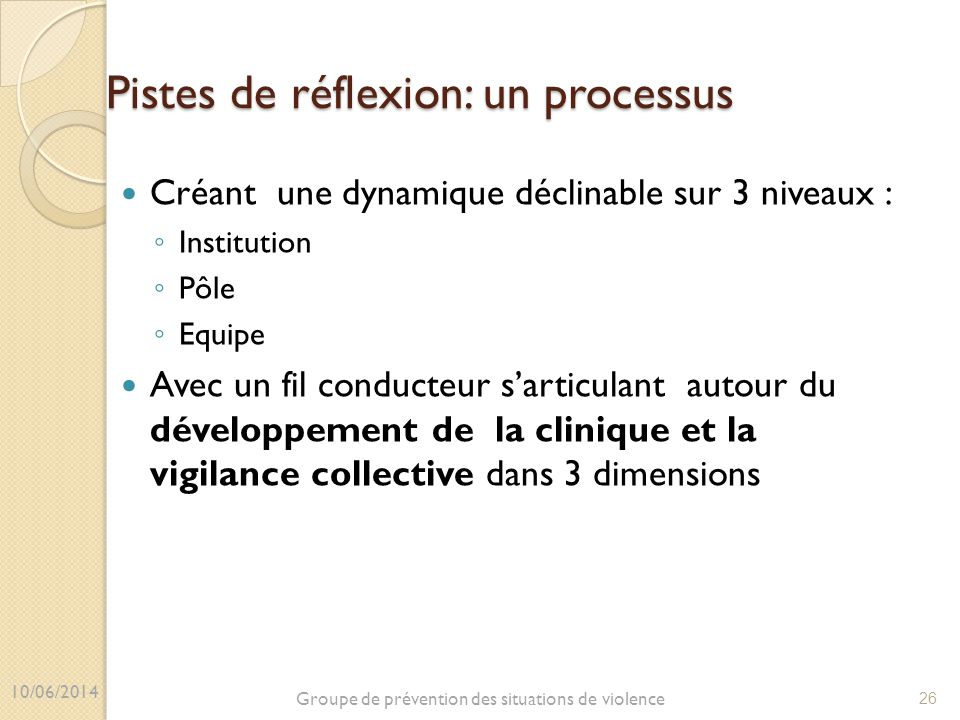 Pistes de réflexion: un processus Créant une dynamique déclinable sur 3 niveaux : ◦ Institution ◦ Pôle ◦ Equipe Avec un fil conducteur s'articulant au