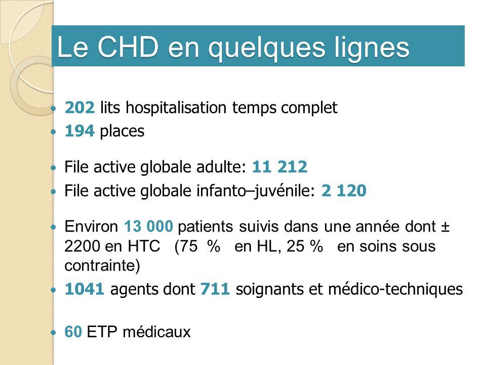 Le CHD en quelques lignes 202 lits hospitalisation temps complet 194 places File active globale adulte: 11 212 File active globale infanto–juvénile: 2