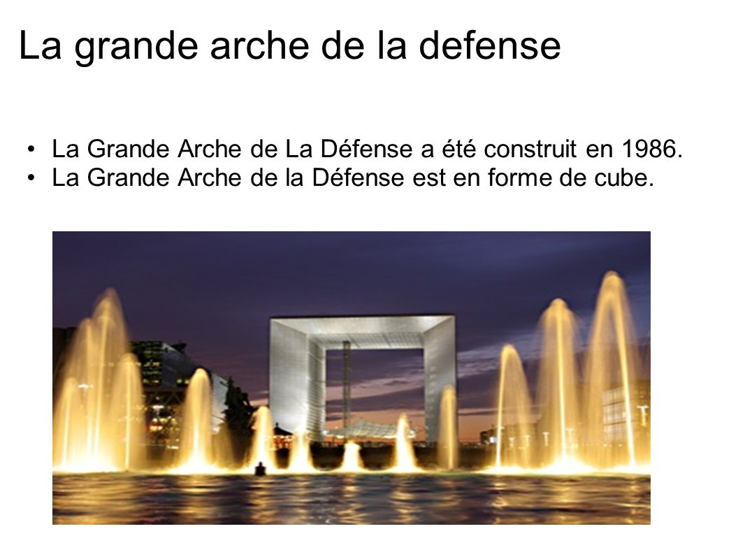 La grande arche de la defense La Grande Arche de La Défense a été construit en 1986. La Grande Arche de la Défense est en forme de cube.