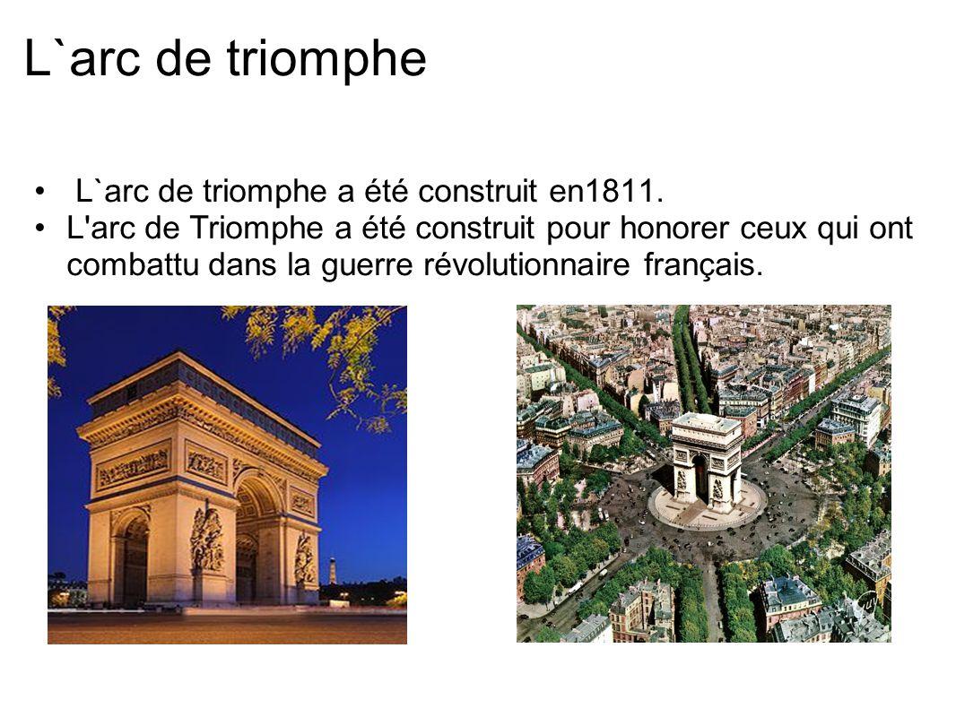 L`arc de triomphe L`arc de triomphe a été construit en1811. L'arc de Triomphe a été construit pour honorer ceux qui ont combattu dans la guerre révolu