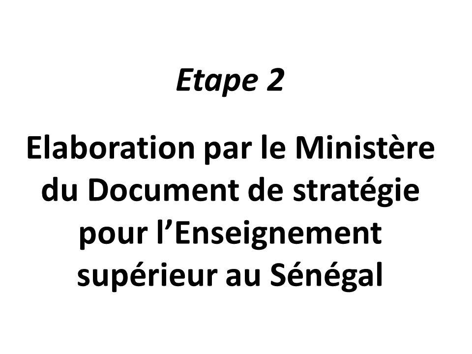 Etape 2 Elaboration par le Ministère du Document de stratégie pour l'Enseignement supérieur au Sénégal