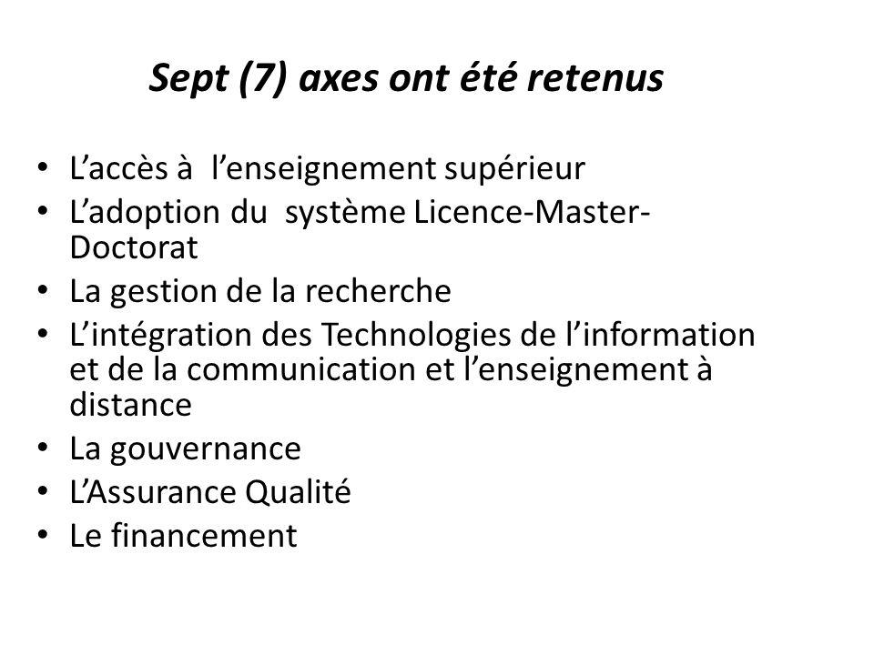 Sept (7) axes ont été retenus L'accès à l'enseignement supérieur L'adoption du système Licence-Master- Doctorat La gestion de la recherche L'intégrati