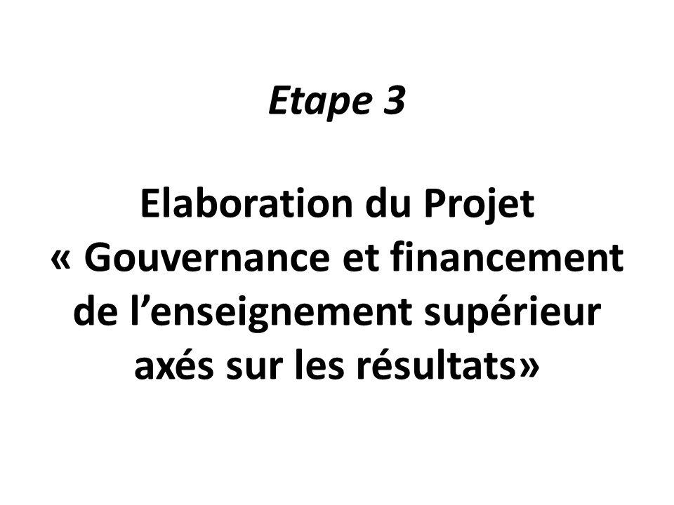 Etape 3 Elaboration du Projet « Gouvernance et financement de l'enseignement supérieur axés sur les résultats»