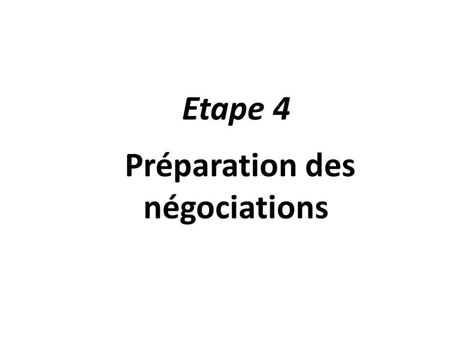 Etape 4 Préparation des négociations