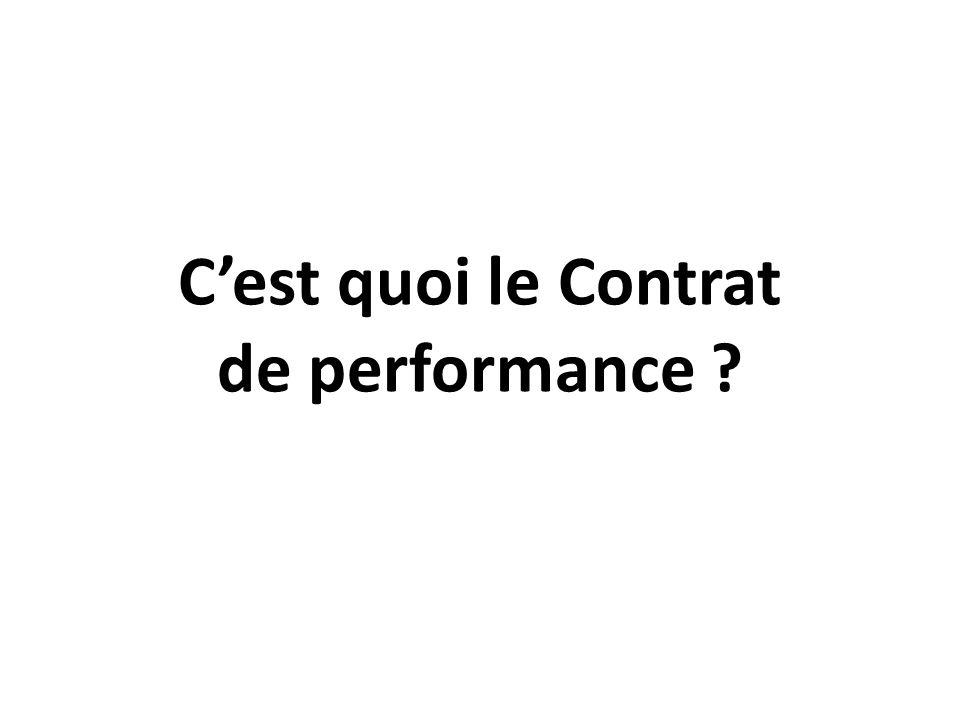 C'est quoi le Contrat de performance ?