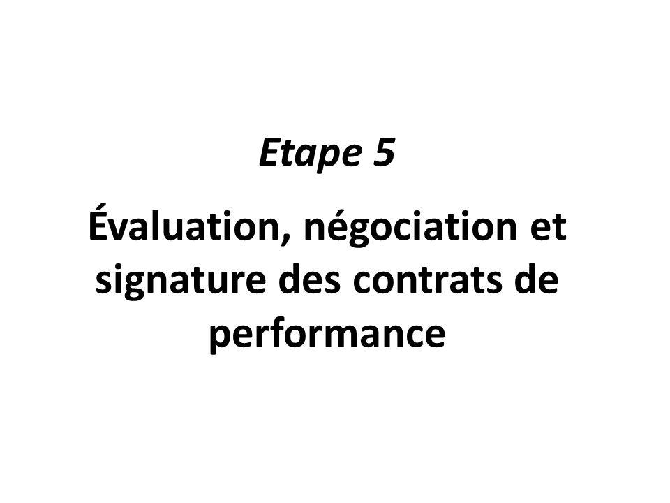 Etape 5 Évaluation, négociation et signature des contrats de performance