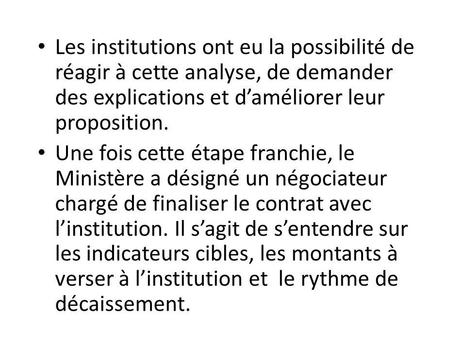 Les institutions ont eu la possibilité de réagir à cette analyse, de demander des explications et d'améliorer leur proposition. Une fois cette étape f