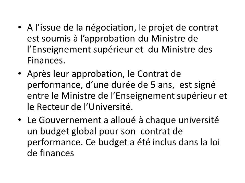 A l'issue de la négociation, le projet de contrat est soumis à l'approbation du Ministre de l'Enseignement supérieur et du Ministre des Finances. Aprè