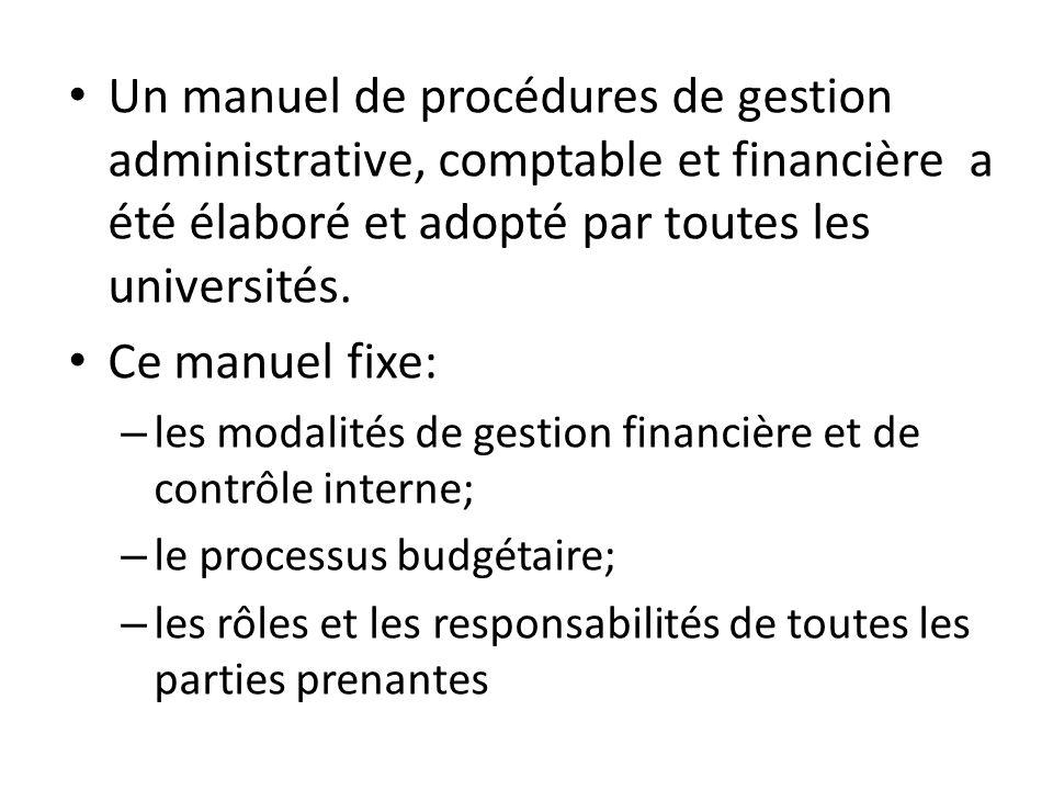 Un manuel de procédures de gestion administrative, comptable et financière a été élaboré et adopté par toutes les universités. Ce manuel fixe: – les m