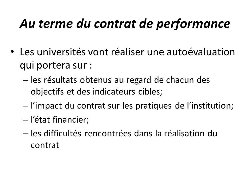 Au terme du contrat de performance Les universités vont réaliser une autoévaluation qui portera sur : – les résultats obtenus au regard de chacun des