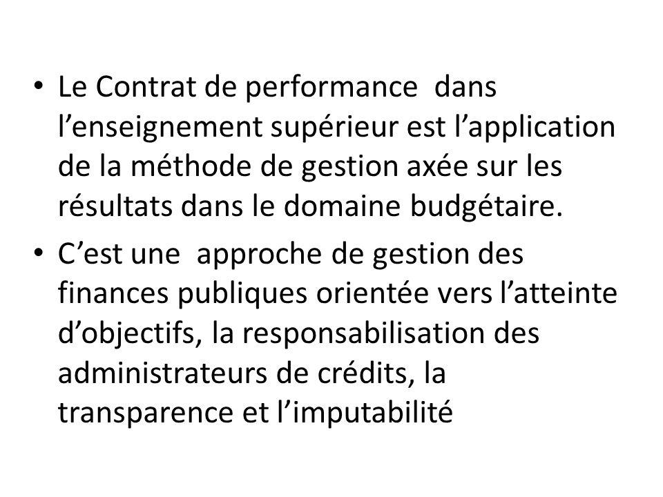 Le Contrat de performance dans l'enseignement supérieur est l'application de la méthode de gestion axée sur les résultats dans le domaine budgétaire.