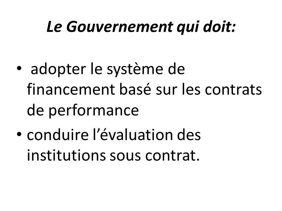Le Gouvernement qui doit: adopter le système de financement basé sur les contrats de performance conduire l'évaluation des institutions sous contrat.