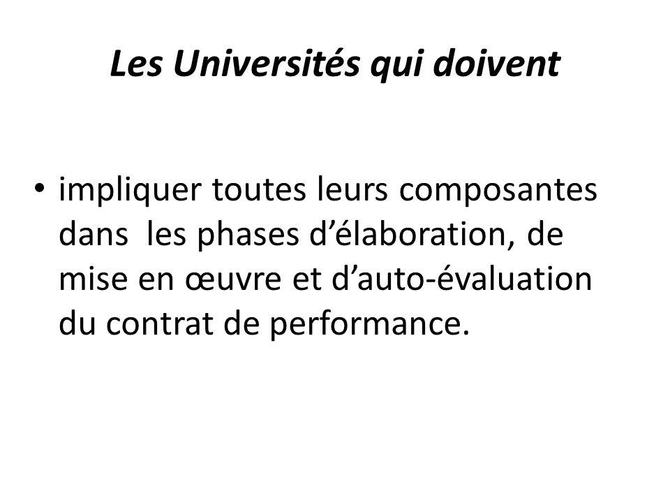Les Universités qui doivent impliquer toutes leurs composantes dans les phases d'élaboration, de mise en œuvre et d'auto-évaluation du contrat de perf