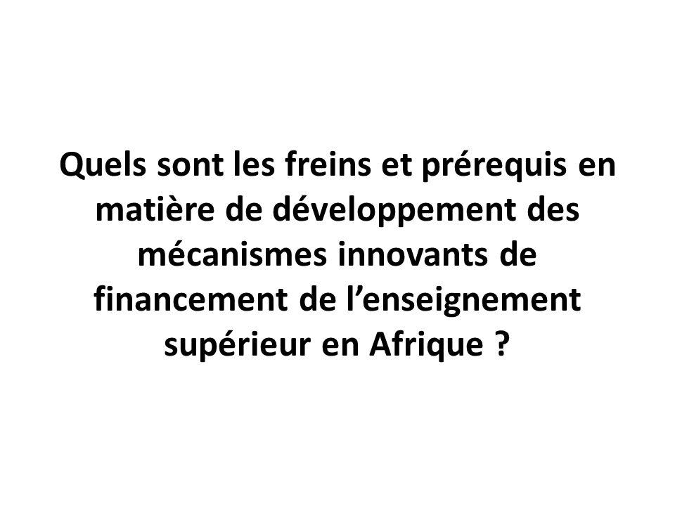 Quels sont les freins et prérequis en matière de développement des mécanismes innovants de financement de l'enseignement supérieur en Afrique ?