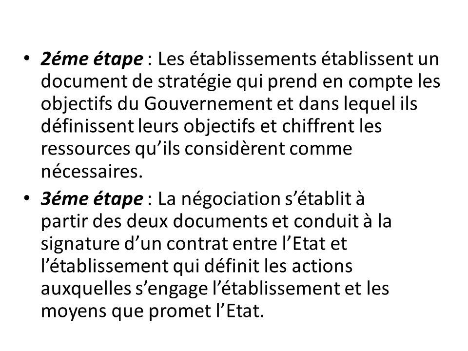 2éme étape : Les établissements établissent un document de stratégie qui prend en compte les objectifs du Gouvernement et dans lequel ils définissent