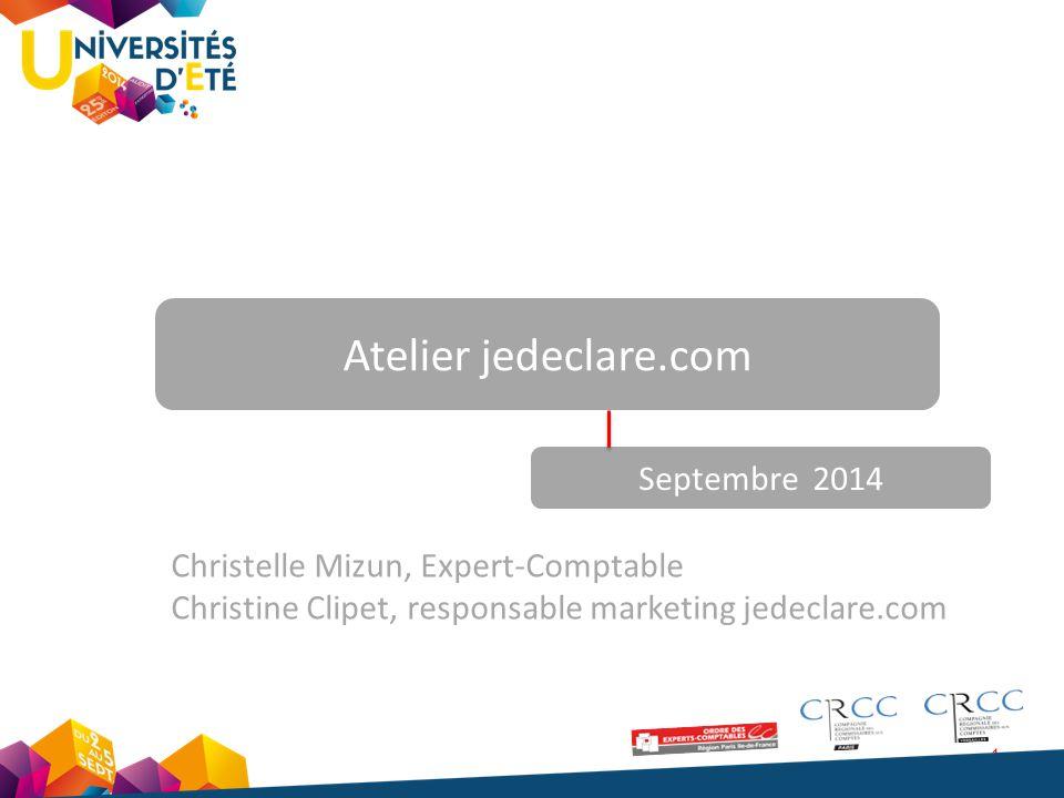 1 Atelier jedeclare.com Septembre 2014 Christelle Mizun, Expert-Comptable Christine Clipet, responsable marketing jedeclare.com