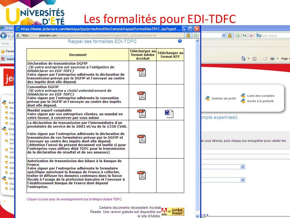 11 Les formalités pour EDI-TDFC