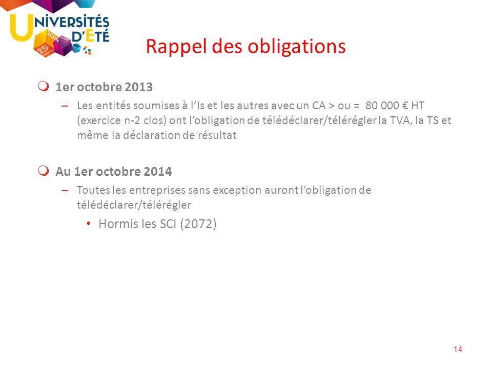 14  1er octobre 2013 – Les entités soumises à l'Is et les autres avec un CA > ou = 80 000 € HT (exercice n-2 clos) ont l'obligation de télédéclarer/t