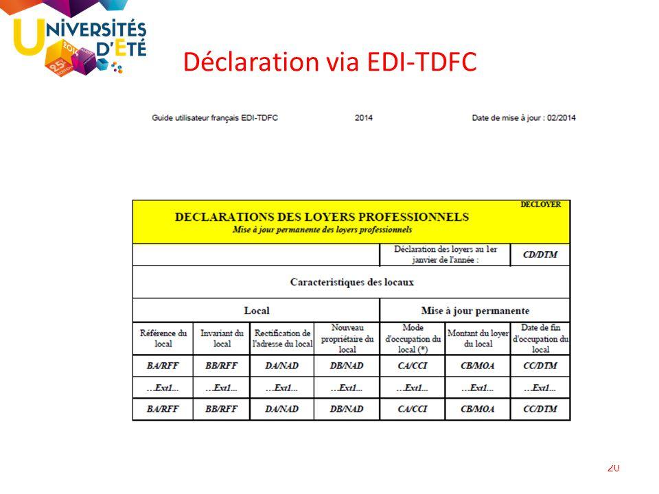 20 Déclaration via EDI-TDFC