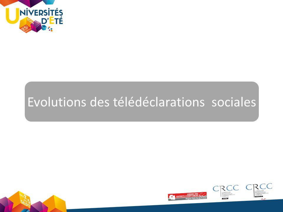 25 Evolutions des télédéclarations sociales