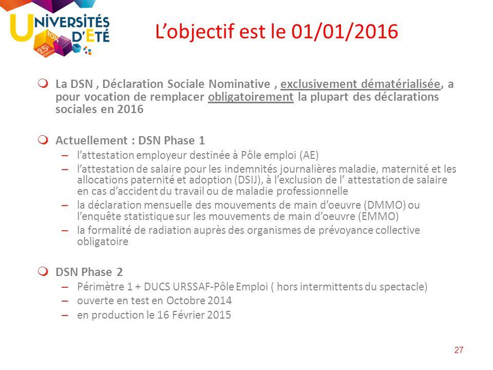 27  La DSN, Déclaration Sociale Nominative, exclusivement dématérialisée, a pour vocation de remplacer obligatoirement la plupart des déclarations so