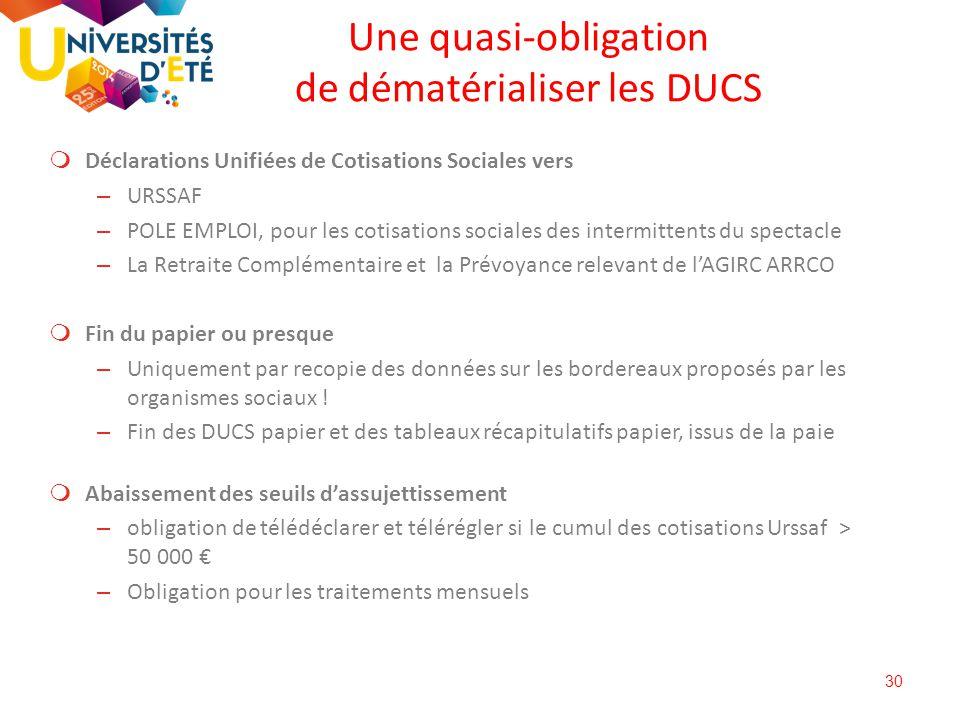 30 Une quasi-obligation de dématérialiser les DUCS  Déclarations Unifiées de Cotisations Sociales vers – URSSAF – POLE EMPLOI, pour les cotisations s